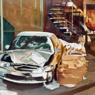 Boom Montreal - Marc GOLDSTAIN 2001 - Oil On Canvas - Car Crash - Snow - Urban Landscape - Sidewalk - Realistic Painting - Contemporary Art