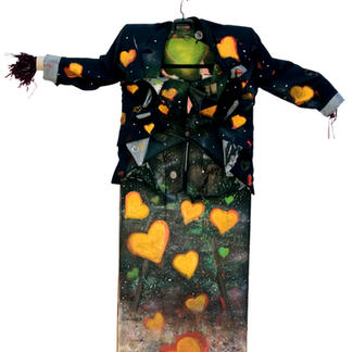 The Dressed Scarecrow - Marc GOLDSTAIN 2006 - Oil On Canvas - Naked - Renoma Blazer - Orange Hearts - Grounded With Love - Contemporary Painting