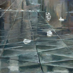 Lost Papers - Diam; 40 - Marc GOLDSTAIN 2010 2011 - Oil On Canvas - Graals - Vitry - Open Air Market - Waste - Contemporary Painting