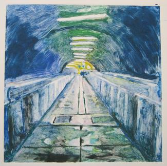 Blue 2 Monotype - 20x20cm - Marc GOLDSTAIN 2014 - Oil On Paper - Tube Corridor - Urban Landscape