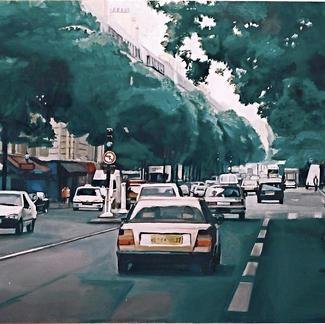 Magenta Boulevard - Marc GOLDSTAIN 1999 - Oil On Canvas - Paris - About 225X100Cm