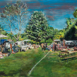 Brocante Nieul Le Dolent - 80x240cm - Marc GOLDSTAIN 2014 - Oil On Canvas - Contemporary Landscape - Giraffe - Clearing - Nature - Picnic - Contemporary Painting - Jeff Koons