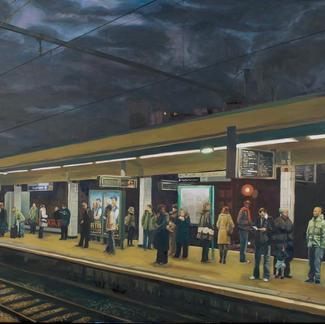 Big Laplace Station 1 - 130x162cm - Marc GOLDSTAIN 2008 - Oil On Canvas - Urban Landscape - Paris Subway - Arcueil - Comtemporary Painting