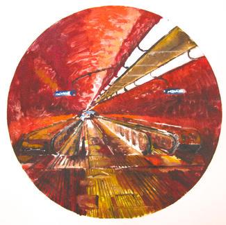Red Opera 1 Monotype - Marc GOLDSTAIN 2014 - Oil On Paper - Tube Corridor - Urban Landscape
