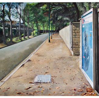 St. Maur Stadium Street North - 114x146cm - Marc GOLDSTAIN 2005 - Oil On Canvas - Urban Landscape - Sidewalk - Paris Suburbs - Realistic Painting - Contemporary Art