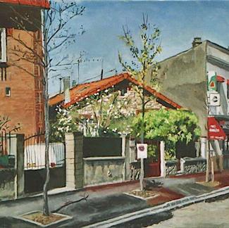 Pavillon - 46x55cm - Marc GOLDSTAIN 2004 - Oil On Canvas - Garden - Urban Landscape - Paris Suburbs - Realistic Painting - Contemporary Art