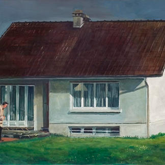 Mon Oncle - 50x150cm - Marc GOLDSTAIN 2009 - Oil On Canvas - Tati - Louis - Rainbow - House - Architecture - Countryside - Figurative Painting