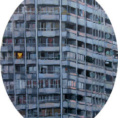 Urban Monad 17 Floor Tondeau - 50x40cm - Marc GOLDSTAIN 2012 - Acrylic On Canvas - Tower - Cityscape - Paris - Realistic Painting - French Art