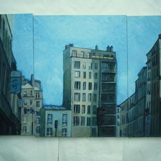 Popincourt Street - Marc GOLDSTAIN 1997 - Oil On Canvas - Triptyque - Paris