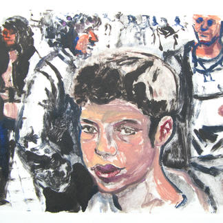 Teenager 1 Monotype - 15,5x20cm - Marc GOLDSTAIN 2014 - Oil On Paper - Portraits - Street Life