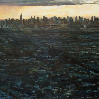 Skyline Newark - 73x116cm - Marc GOLDSTAIN 2009 - Oil On Canvas - New York City - Urban Landscape - Enpire State Building - Realistic Painting