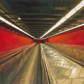 Science Fiction Red Corridor 1 - 114x146cm - Marc GOLDSTAIN 2007 - Oil On Canvas - Auber - Urban Life - Paris Subway - Rer - Comtemporary Painting