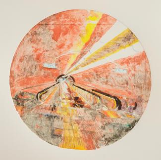 Red Opera Ghost 1 Monotype - Diam 25 - Marc GOLDSTAIN 2014 - Oil On Paper - Tube Corridor - Urban Landscape