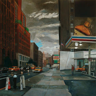Houston Auto Repair  New York Gas Station - 150x150cm - Marc GOLDSTAIN 2007 - Oil On Canvas - Whisky - New York City - Urban Landscape - Architecture - Realistic Painting