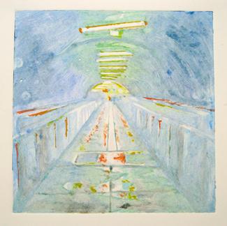 Blue 3 Monotype - 20x20cm - Marc GOLDSTAIN 2014 - Oil On Paper - Tube Corridor - Urban Landscape