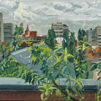 Ivry Buildings Roses - Marc GOLDSTAIN 1992 1993 - Oil On Paper - Paris Suburb - Urban Landscape
