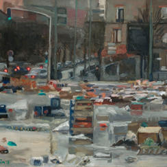 Open Air Market End - 38x46cm - Marc GOLDSTAIN 2010 2011 - Oil On Canvas - Crates - Vitry - Market - Waste - Urban Landscape - Contemporary Painting
