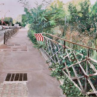 Quai Andre Citroen - 97x146cm - Marc GOLDSTAIN 2004 - Oil On Canvas - Wild Grass - Sidewalk - Paris Javel - Realistic Painting - Contemporary Painting