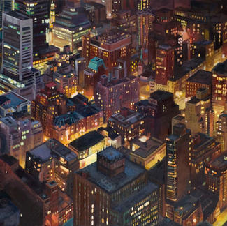 New York Street Lights - 89x116cm - Marc GOLDSTAIN 2009 - Oil On Canvas - Empire State Building - City Nightscape - Urban Landscape - Realistic Painting