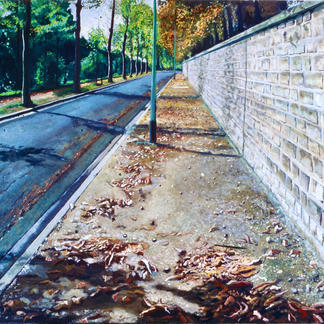Sidewalk Summer End - 97x146cm - Marc GOLDSTAIN 2004 - Oil On Canvas - Paris Suburb - Urban Landscape - Contemporary Art - Realistic Painting