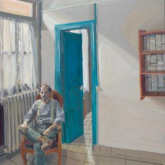 Blue Studio Henry Seat - Marc GOLDSTAIN 1992 1993 - Oil On Isorel - Artist Studio