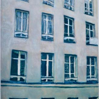 Facade With Seventeen Windows 1 - Marc GOLDSTAIN 1997 - Oil On Canvas - Paris - Rue - Sedaine