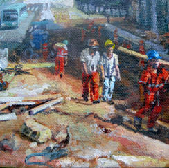 Fourteen Knight Belo Horizonte - 14x24cm - Marc GOLDSTAIN 2013 - Acryl On Canvas - Worksite - Workers - Brasil - Contemporary Painting