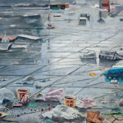 Three Graals - 46x61cm - Marc GOLDSTAIN 2010 2011 - Oil On Canvas - Vitry - Market - Wast - Red Umbrella - Contemporary Painting