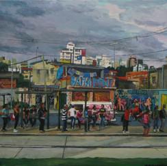 mondrian deus salva-belo horizonte-bus station- urban landscape brasil- contemporary paint