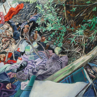 Wasteland Garigliano - 60x73cm - Marc GOLDSTAIN 2006 - Oil On Canvas - Clothes - Shoe - Realistic Painting - Urban Landscapecontemporary Art