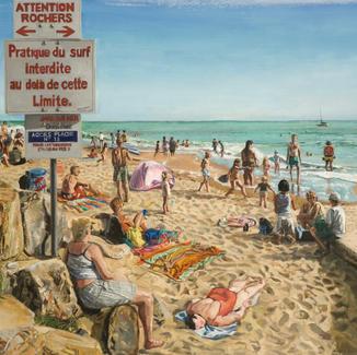 Beyond This Limit - 130x197cm - Marc GOLDSTAIN 2011 - Oil On Canvas - Seascape - Jard Sur Mer - Plage Du Boisvinet - Jard Sur Mer - Bathers - Contemporary Painting