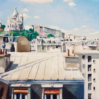Sacred Heart From The Roofs - Marc GOLDSTAIN 1999 - Oil On Canvas - Paris Anvers - Chimneys - Chambre De Bonne - Urban Landscape - Realistic Painting - Contemporary Art