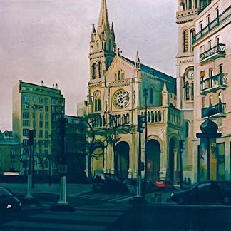 St Ambroise S Church - Marc GOLDSTAIN 1999 - Acrylic On Canvas - Paris - About130X62Cm