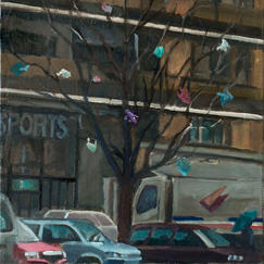Christmas Tree Open Air Market - 35x22cm - Marc GOLDSTAIN 2010 2011 - Oil On Canvas - Vitry - Waste - Plastics Bags - Urban Landscape - Contemporary Painting