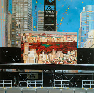 Central Park Billboard - 150x150cm - Marc GOLDSTAIN 2007 - Oil On Canvas - Easel - Urban Landscape - Cranes - New York - Building - Blue Sky - Contemporary Painting
