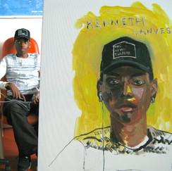 Kenneth, acrylique sur toile, 65 x 56 cm, intervention à l'AP-HP hoptial européen Georges