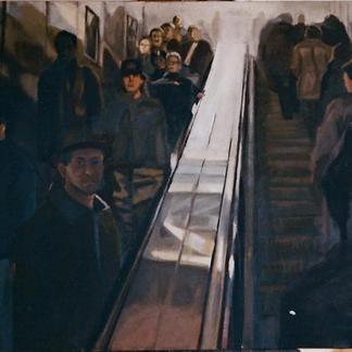 Self Portrait With Escalator - Marc GOLDSTAIN 1998 - Oil On Canvas - Les Halles Paris - About 89X116Cm