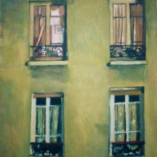 Façade With Four Windows 1 - Marc GOLDSTAIN 1997 - Oil On Canvas - Paris - Rue - Sedaine