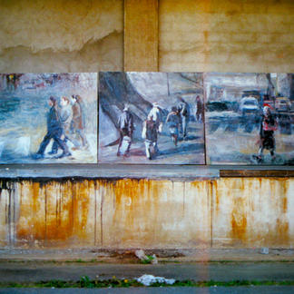 Series Of Great Passers By - Marc GOLDSTAIN 1995 1996 - Oil On Canvas - Pantin - 200X 700Cm