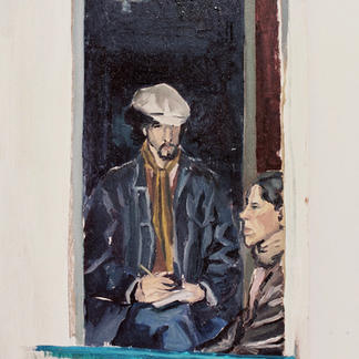 Frank And Friend By The Window - Marc GOLDSTAIN 1992 1993 - Oil On Wood - Portrait