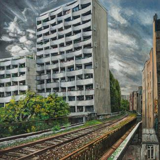 Auster Hopper On The Bridge - 150x150cm - Marc GOLDSTAIN 2014 - Oil On Canvas - Railroad Track - Wastland - Architecture - Building - Petite Ceinture - Paris - Urban Landscape - Contemporary Painting