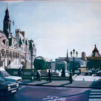 Hotel De Ville - Oil on canvas -  95X130Cm - Marc GOLDSTAIN 2000
