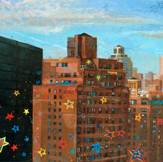 Bricks Building With Stars - 73x92cm - Marc GOLDSTAIN 2007 - Oil On Canvas - New York City - Urban Landscape - Architecture - Realistic Painting
