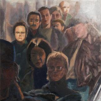 Escalator With Passengers - 30x30cm - Marc GOLDSTAIN 2007 2008 - Oil On Canvas - Group Portrait - Chatelet - Paris Subway - Passengers - Rer - Comtemporary Painting