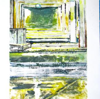 Platform 2 Monotype - 44,5x28cm - Marc GOLDSTAIN 2014 - Oil On Paper - Train Station - Urban Landscape