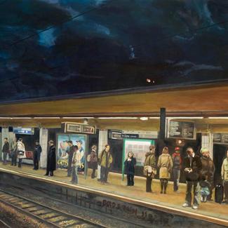 Big Laplace Station 2 - 130x162cm - Marc GOLDSTAIN 2011 - Oil On Canvas - Urban Landscape - Paris Subway - Arcueil - Comtemporary Painting