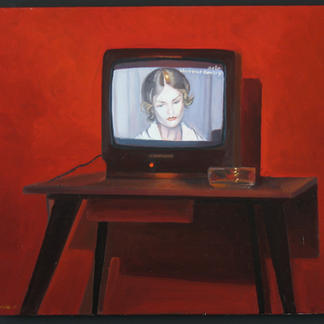 Red Bovary - 38x44cm - Marc GOLDSTAIN 2005 - Oil On Canvas - Isabelle Huppert - Television - Hotel Room - Ashtray - Contemporary Art - Realistic Painting