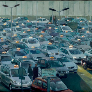 Parking At Night Orlyparking At Night Orly Oil On Canvas Taxi - 50x100cm - Marc GOLDSTAIN 2007 2008 - Ape - Contemporary Painting
