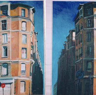 Fautrier Street - Marc GOLDSTAIN 1997 - Oil On Canvas - Diptyque - Paris - 2X120X80Cm