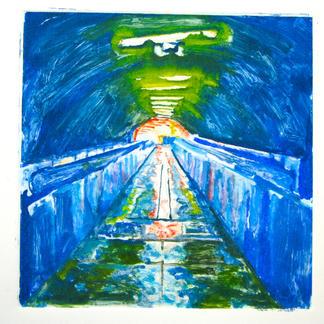 Blue 4 Monotype - 20x20cm - Marc GOLDSTAIN 2014 - Oil On Paper - Tube Corridor - Urban Landscape